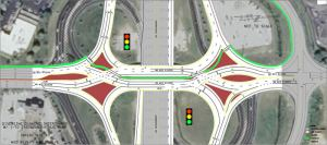The finished Diverging Diamond Interchange at Mid Rivers Mall Drive & I-70. Photo courtesy MoDOT
