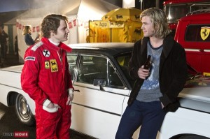 Lauda (Bruehl) and Hunt (Hemsworth) discussing post-race politics. Photo courtesy Tune Movie.