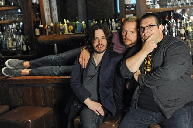 (Left to Right) Edgar Wright, Simon Pegg, and Nick Frost.  Photo Credit: NY Daily News