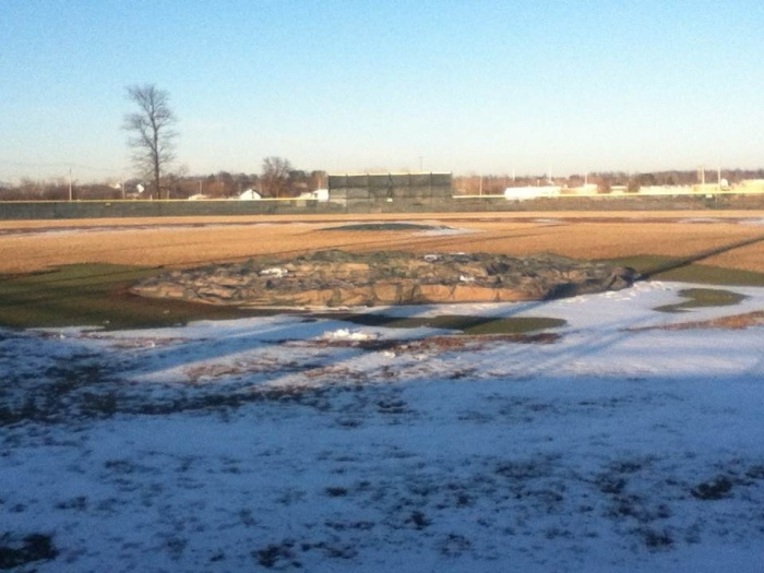 The SCC baseball field still covered in ice before the most recent warm up.